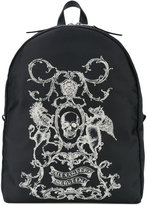 Alexander McQueen skull coat of arms backpack - men - Leather/Cotton - One Size