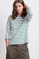 Camber Stripe Knit Distressed Boat Neck Tee