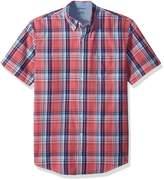 Izod Men's Big and Tall Saltwater Short Sleeve Plaid Shirt