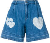 Love Moschino heart patch denim shorts