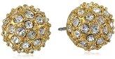 T Tahari Pave Button Stud Earrings