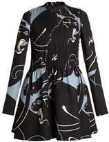 Valentino Panther-print pintuck-pleated mini dress