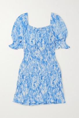 Faithfull The Brand Net Sustain Magnolia Shirred Tie-dyed Crepe Mini Dress - Blue