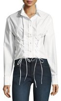 McQ Button-Front Lace-Up Poplin Corset Oxford Shirt