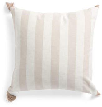20x20 Stripe Reversible Linen Blend Pillow