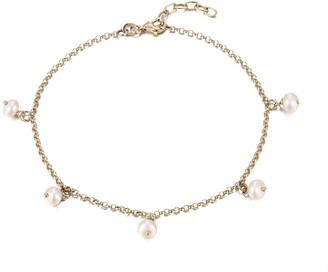 Seol + Gold 18Ct Gold Vermeil Pearl Charm Anklet