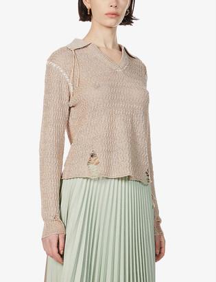 ANDERSSON BELL Erica distressed linen-blend jumper