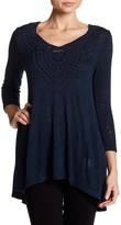 Bobeau 3/4 Length Sleeve Applique Knit Shirt