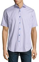 Bogosse Short-Sleeve End-on-End Sport Shirt, Purple