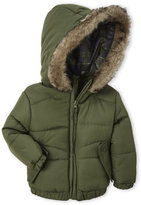 Weatherproof Infant Boys) Faux Fur Trim Hooded Jacket