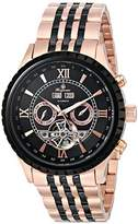 Burgmeister Denver Men's Automatic Watch with Black Dial Analogue Display and Stainless Steel Rose Gold Plated Bracelet BM327-327