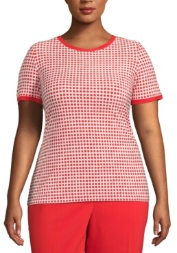 Anne Klein Plus Size Pearly Back-Button Top