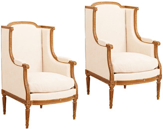 Rejuvenation Pair of French Louis XVI Bergere Lounge Chairs