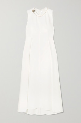 Victoria Beckham Embellished Pleated Stretch-cady Midi Dress - White
