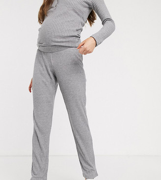 Mama Licious Mamalicious maternity knitted lounge pants in gray