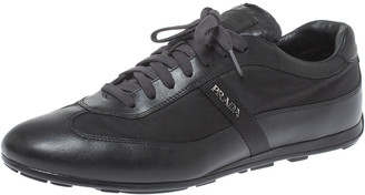 Prada Sport Black Leather and Nylon Trainers Sneakers Size 43.5