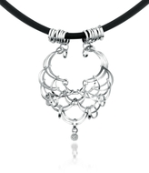 Orlando Orlandini Scintille - Diamond Drop 18K White Gold Net Necklace