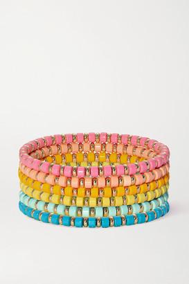 Roxanne Assoulin The Little Ones Set Of Six Enamel And Gold-tone Bracelets - Orange
