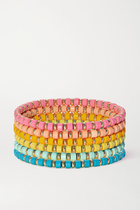 Roxanne Assoulin The Little Ones Set Of Six Enamel And Gold-tone Bracelets