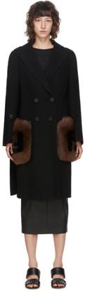 Fendi Black Wool and Fox Fur Coat