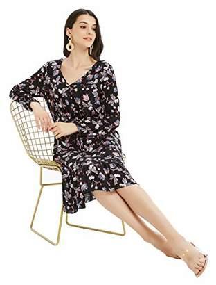 Basic Model Women's Casual V Neck Long Sleeve Drawstring Waist Floral Dress