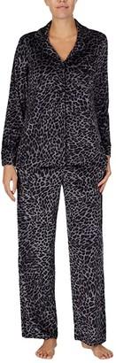 Donna Karan Stretch Velour Sleepwear Pajama Set (Natural Animal) Women's Pajama Sets