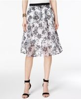 NY Collection Floral-Print Illusion A-Line Skirt