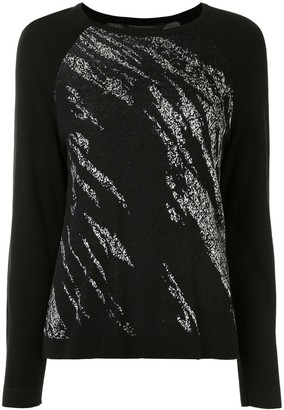 BCBGMAXAZRIA Abstract-Pattern Raglan Jumper