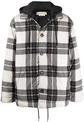 Marni Hooded Checked Coat
