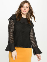 ELOQUII Plus Size Studio Ruffle Lace Blouse