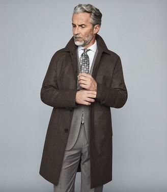 Reiss Bolzano - Wool Blend Overcoat in Dark Brown