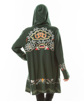 Paparazzi Forest Green Embroidered Hooded Cardigan