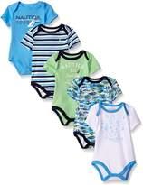 Nautica Baby Boys' Newborn Five-Pack Bodysuits, 6-9 Months