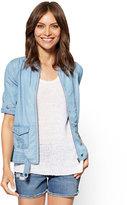 New York & Co. Soho Jeans - Zip-Front Jacket - Ultra-Soft Chambray