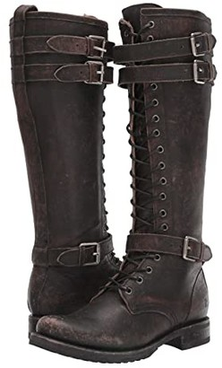 Frye Veronica Buckle Combat Tall (Black Brush Off Full Grain Leather) Women's Boots