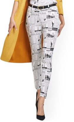 New York & Co. Petite Audrey High-Waisted Ankle Pant - Newspaper-Print