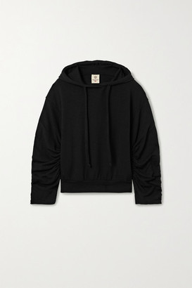 YEAR OF OURS Ruched Stretch Modal And Cotton-blend Hoodie - Black