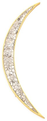 Shana Gulati Thane 18K Yellow Gold Vermeil & Sliced Uncut Diamond Large Brooch