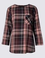 Marks and Spencer Modal Blend Checked 3/4 Sleeve Shell Top