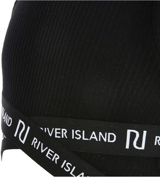 River Island Girls Cross Over Cropped Top-Black