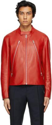 Maison Margiela Red Leather 5-Zip Jacket