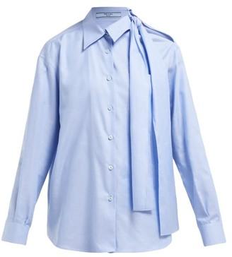 Prada Cut-out Cotton-poplin Shirt - Womens - Blue