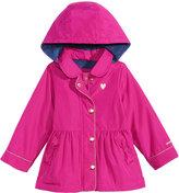 London Fog Hooded Peplum Rain Jacket, Toddler and Little Girls (2T-6X)