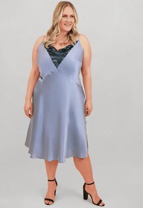 Marée Pour Toi Maree Pour Toi Light Blue Silk Slip Dress w/ Lace Size 14