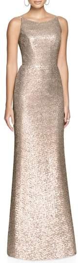 Dessy Collection Bateau Neck Sequin Gown