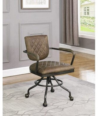 Wrought Studio Azeem Genuine Leather Task Chair Wrought Studio Upholstery: Antique Brown