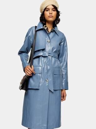 Topshop Charlie Croc Trench Coat - Blue