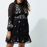 River Island Womens Plus black floral embroidered smock dress