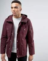 Asos 4 Pocket Parka Jacket In Burgundy