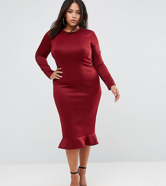 Club L London Plus Club L Plus Office Long Sleeve Detailed Dress w. Peplum Frill Hem Bodycon Midi Dress